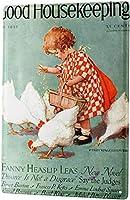 ブリキ看板鶏に餌をやる少女金属板壁の装飾