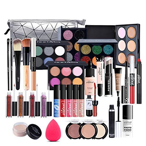 FantasyDay 33St Multifunktions Exquisite Kosmetik Geschenkset Make-up Schmink Kit für Gesicht, Augen und Lippen - Weihnachten Makeup Set mit Augenbrauencreme Lidschatten Lippenstift Lipgloss Mascara