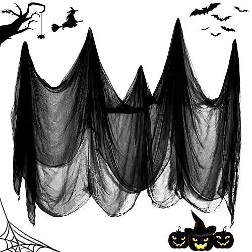 Wishstar Halloween Deko Stoff, Horror Deko Käsetuch 215 x 500 cm, Schwarz Dekostoff Helloween Deko, Halloween Grusel Party Deko für Türen/Hallen/Veranden/Decks/Fenster