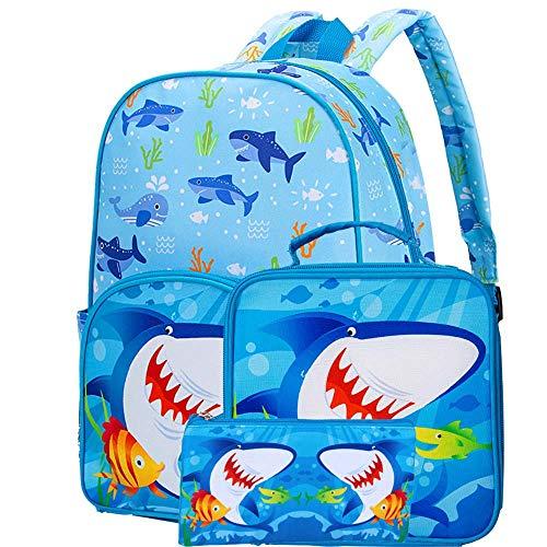 3PCS Preschool Backpack Boys, 15' Shark Backpacks and Lunch Box