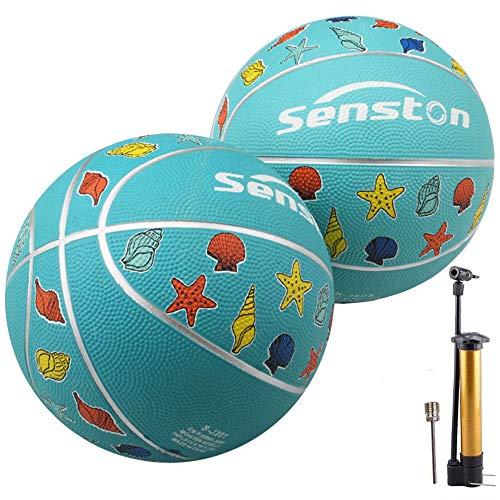 Senston 2 Pièces Ballon de Basket-Ball Basketball Taille 3 Caoutchouc Doux et Bouncy Basketball Extérieur et intérieur