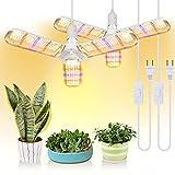 SINJIAlight [Pack of 2] Lámpara para plantas, 150 W, espectro completo con 414 ledes, plegable, para plantas de interior, invernadero e hidropónicas, lámpara de cultivo con cable de alimentación E27