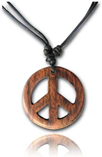 Earth Accessories Adjustable Peace Sign Pendant Necklace with Organic Wood