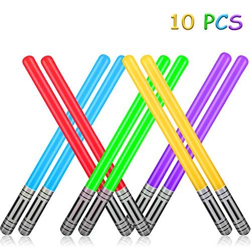 Yojoloin Aufblasbare Star Wars Ballons 10 Pcs Lichtschwert Schwert Stick Ballons 5 Farben Aufblasbares Schwert Für Party Supplies Party Favors