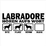 Siviwonder Auto Aufkleber LABRADOR RETRIEVER Hunde Hören aufs Wort Hundeaufkleber 30cm black