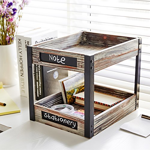 2 Tier Industrial Style Torched Wood Desktop Document Tray, Paper File Holder with Chalkboard Labels