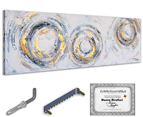 Monica Mirafiori I Gemälde 'ECHO' I 150x50cm | XXL Leinwandbild handgemalt | Acrylgemälde auf Leinwand | Sehr großes Acrylbild auf Keilrahmen I Moderne Kunst