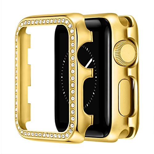 VeveXiao Funda de 40 mm compatible con Apple Watch SE Case de 40 mm, para mujer y niña, con bisel de metal inoxidable, para iWatch Series 6/5/4 (dorado, 40 mm)