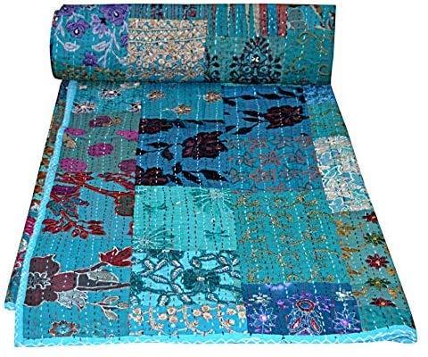 Mogi - Colcha de algodón Kantha hecha a mano, diseño tradicional de patch, para cama de matrimonio