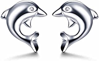 925 Sterling Silver with Cubic Zircoina Hypoallergenic Dolphin Stud Earrings for Girls LSE10