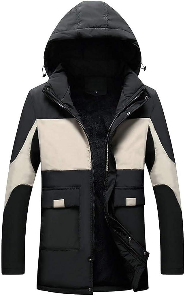 MODOQO Men's Hooded Coat with Hood Long Sleeve Lightweight Warm Soft Winter Outwear Jacket