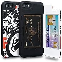 TORU CX PRO iPhone SE 2020 ケース カード ブルー収納背面 2枚 IC Suicaカード入れ カバ― ミラー付き (アイフォン SE 2020 / アイフォン8 / アイフォン7用) - 落書き