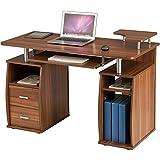Piranha Großer Computer Schreibtisch mit 2 Schubladen und 4 Regalfächern in Dunkle Eiche Bureau PC...