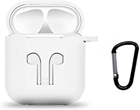MODMYMOBILE Rubber Sillicon Shock Proof Protective Airpod Cover Case with Anti-Lost Carabiner Hook for Apple AirPods Wireless Headphone | White