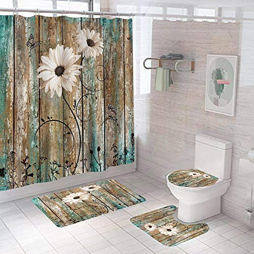4 PCS Rustic Flower Shower Curtain Set with Non-Slip Rug,Toilet Lid Cover,U Shape Mat,Farmhouse Waterproof Fabric ShowerCurtains with 12 Hooks and Rug Mat Set for Bathroom,71''L