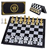 PORTABLE CHESS SET - AMEROUS travel magnetic chess set with perfect size: the opened size of the chess board is 9.8 X 9.8 X 0.73 inches, and the folded size is 9.8 X 4.9 X 1.46 inches. Compact size, foldable chessboard, easy to open and close, very e...