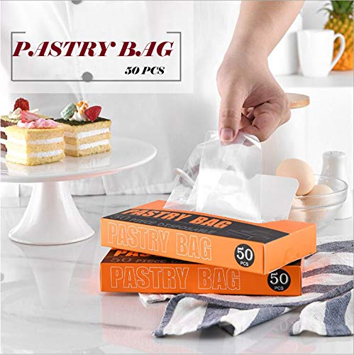 Cake Decorating Piping Bag,50Pcs Buttercream Squeeze Bag, Durable Icing Piping Pastry Bags for Cake Cupcake DIY