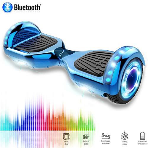 CHIC 6.5 Inch Balance Board Self Balancing Elektrische Scooter Skateboard Wielen met LED-lichtmotor 700W Bluetooth voor Kinderen en Volwassenen(Chrome Blauw)