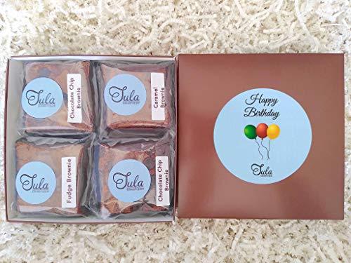 Tula Bakeshoppe Happy Birthday Nut-Free Brownies Gourmet Gift Basket for Nieces, Nephews, Best Friends (4 Bars & Card)