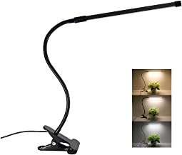Desk Lamp Clamp LED Reading Light Clip Eye Care 3 Lighting Modes 10 Brightness Flexible Gooseneck Mental 8W USB Powered Memory Function Dimmable Table Lamp for Study Beside Lamp(Black)