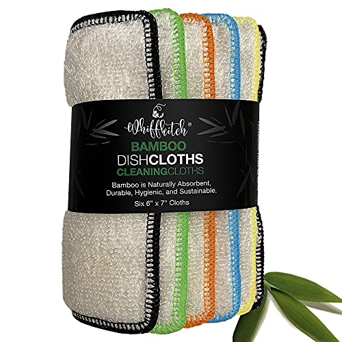 Whiff Bamboo Dishcloths & Kitchen Cloths, Sustainable, Scrubbing Power, Naturally Hygienic, Washable Absorbent Durable, Reusable, Cleaning Essentical, Dish Rags, Replace Your Sponge (BDC6X7inch)