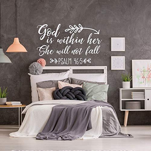 mlpnko Wandaufkleber Bibel Vers Vinyl Moderne Aufkleber für Wohnzimmer Dekoration Wandtattoo Schlafzimmer Dekor91x57cm