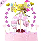 BOYATONG Tortendeko Geburtstag,Happy Birthday Girlande, Bogen,Star,Herzform,Luftballon Kuchen Topper für Kinder Mädchen