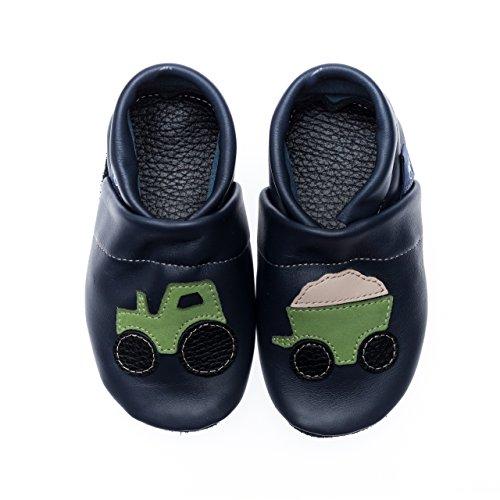 Pantau Leder Krabbelschuhe Lederpuschen Babyschuhe Lauflernschuhe mit Traktor, 100% Leder, 25 EU