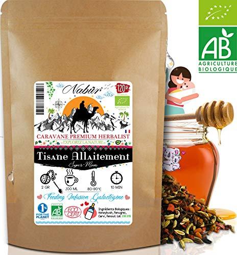 Nabür - Tisane Allaitement N°1 BIO 120 Gr ⭐ 4-en-1 ⭐ Tisane Fenouil, Carvi, Fenugrec, Honeybush ⭐ Favorise la lactation, Sans théine
