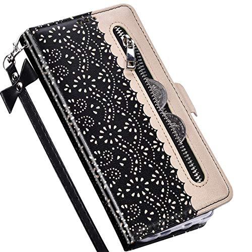 Kompatibel mit Samsung Galaxy A51 Hülle Leder Tasche Brieftasche Flip Wallet Case Schutzhülle Handyhülle,QPOLLY 3D Glitzer Blumen Muster Klapphülle mit Standfunktion für Galaxy A51,Schwarz