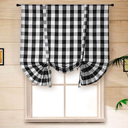 Buffalo Plaid Tie Up Valances for Small Windows, Linen Burlap Black and White Gingham Plaid Check Kitchen Curtain Thick Farmhouse Shades for Bathroom Cafe Rod Pocket, 46 x 63 Inches, 1 Panel