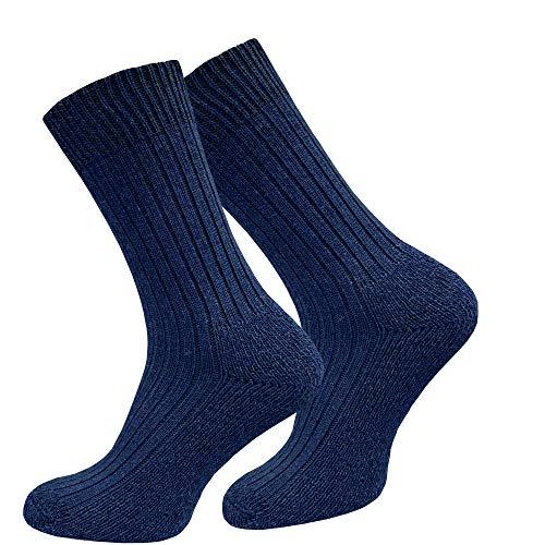 GAWILO 4 Paar Original Militär Socken, Plüschsohle gegen Blasen, hoher Wollanteil (43-46, blau)