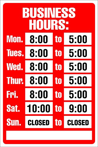 Cosco Sign Kit, Business Hours, 8 x 12 Inches (098071)