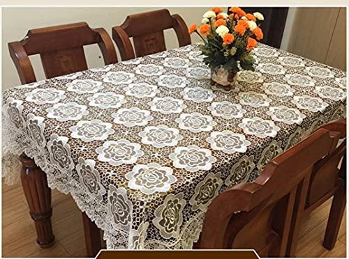 Aiovemc Bordar Mantel de Encaje Mantel Decorativo Mantel de Comedor Cubierta de Tela Textil Boda Fiesta Hotel decoración del hogar