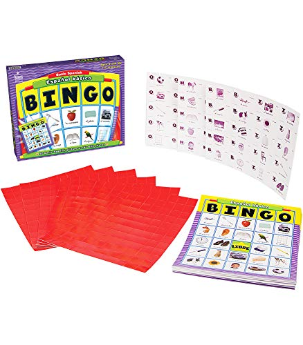 Carson Dellosa Basic Spanish Bingo Game—Learning Board Game with 50 Spanish Words with Photos, 36 Game Boards and Bingo Chips for 3-36 Players, Ages 4 and Up