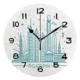 ALUONI Print Round Wall Clock, 10 Inch Philadelphia Skyline, Outline Monochrome City Panorama with Landmarks, Sky Blue Quiet Desk Clock for Home,Office,School No26264