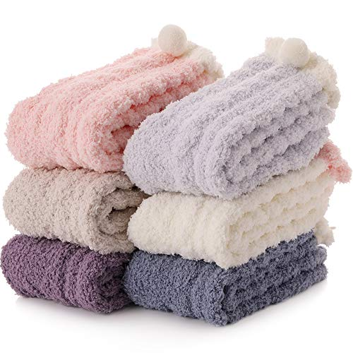 Womens Fuzzy Socks Slipper Soft Cabin Fleece Cozy Fluffy Stocking Stuffers Plush Winter Sleep Socks for Adult(Multicolor (6 Pairs))