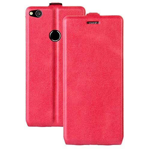 BEIJING ♋ PROTECTIVECOVER+ / for Compatible with Huawei P8 Lite (2017) Funda de Cuero de Flip Vertical con Ranura Tarjeta y Marco de Fotos, Fashion Phone Funda para Protector (Color : Magenta)