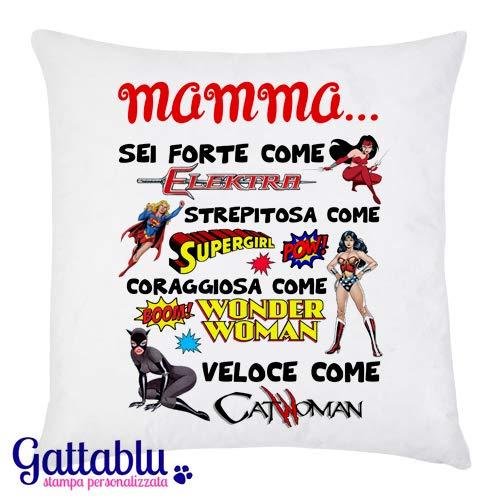 Federa per cuscino MAMMA. sei forte. strepitosa. coraggiosa. come le supereroine dei fumetti! Idea regalo divertente per la Festa della Mamma!