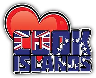 Cook Islands Art Heart Flag Travel Slogan Car Bumper Sticker Decal 5'' X 4''