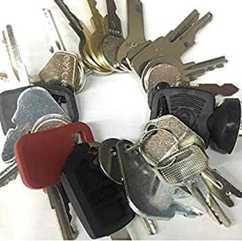 Heavy Equipment Key Set / 20 Keys ON Ring FITS  Bobcat CASE Caterpillar GEHL GRADALL Grove Genie SKYJACK Snorkel HYSTER Ingersoll JCB JLG Deere Lull MULTIQUIP New Holland SKYTRAK TEREX Toyota & More