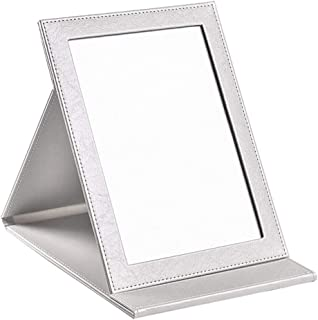 AINIYF Makeup Desk Mirror Portable Folding Vanity Mirror with Stand Pu Leather Cover Tabletop Makeup Mirror (Color : White...