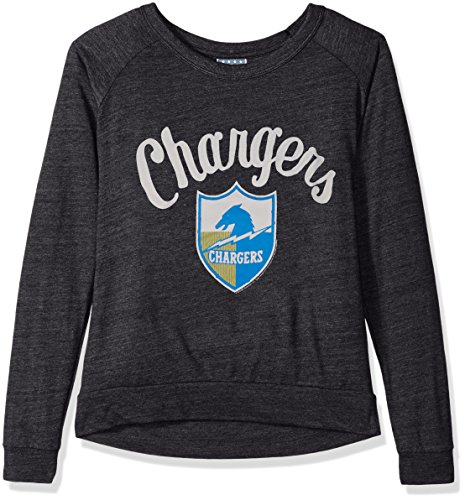 Junk Food NFL San Diego Chargers Women's Long Sleeve Tee, Large, Charcoal Heather