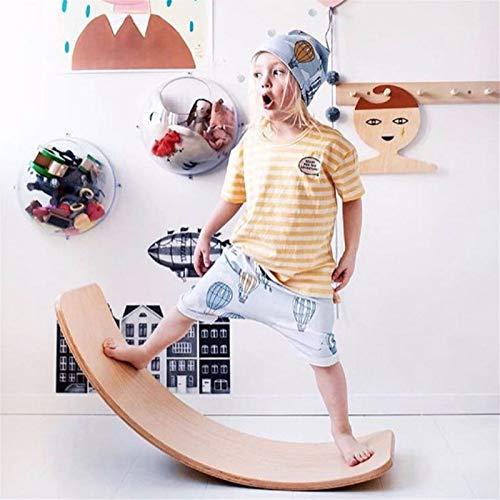 Glintoper Wooden Wobble Balance Board, 32 Inch Kid Natural Wood Yoga Board Curvy Board, Kids Toddler Open Ended Learning Toy, Great Kids Learning Toy for Body Training, Wooden Rocker Board Kid Size