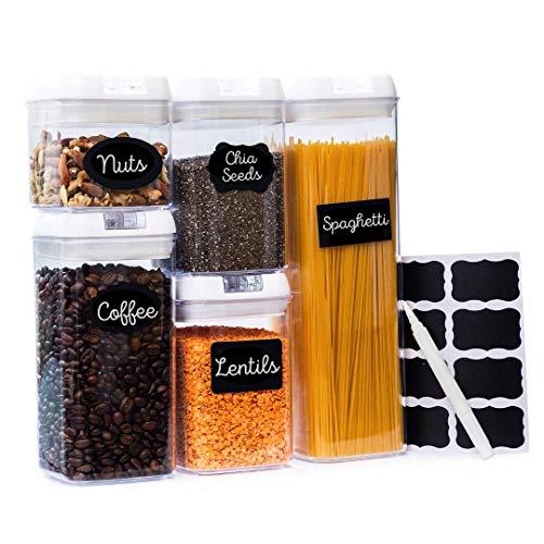 Pretty Pantry & Co - Contenitore ermetico per alimenti, con coperchi senza BPA, contiene 24 etichette e pennarelli, cucina e contenitori, ideale per farina, cereali, spaghetti, pasta e altro (5 pezzi)