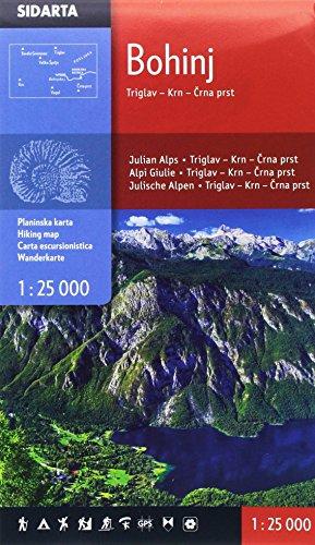 Bohinj - Triglav - Krn - Crna prst (Julische Alpen) Carta escursionistica Slovenia 1:25 000 covering from Triglav in the North to just south of Vogel escursioni e trekking alla scoperta della natura