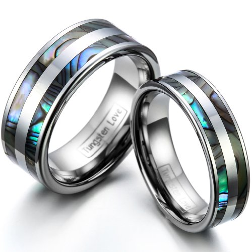 JewelryWe Gifts for Valentine His & Her's 8MM/6MM Double Abalone Inlay Tungsten Carbide Wedding Band Ring Bridal Set, Sizes H-Z+4, E-Mail Sizes