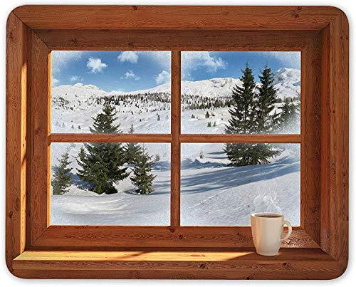 Alpine Window Mouse Mat Pad - Ski Lodge Snowboard Skiing Gift Computer #14195