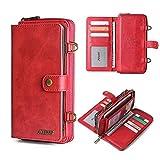 N\ Schutzhülle für Samsung A51, Brieftaschenformat mit 13 Kartenfächern, magnetisch, abnehmbar, mit Riemen, stoßfeste Hülle (rot)