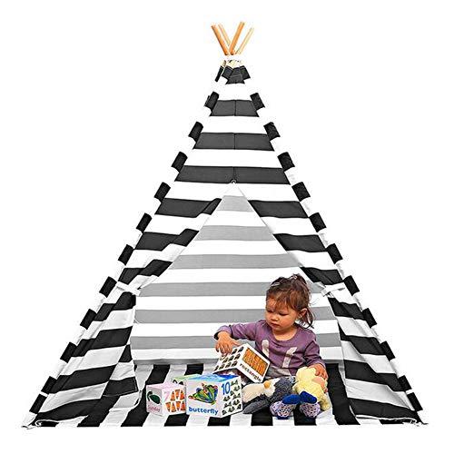 YONG Indianerzelt Tipi Set für Kinder,120x120x156cm Spielzeug drinnen draußen Spielzelt Zelt mit Korb Tipi-Set Indianer Indianertipi(Graue Streifen)